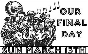 Johnny D's last day, March 13,2016, was celebrated with a second line brass band parade through Davis Square, Somerville, MA